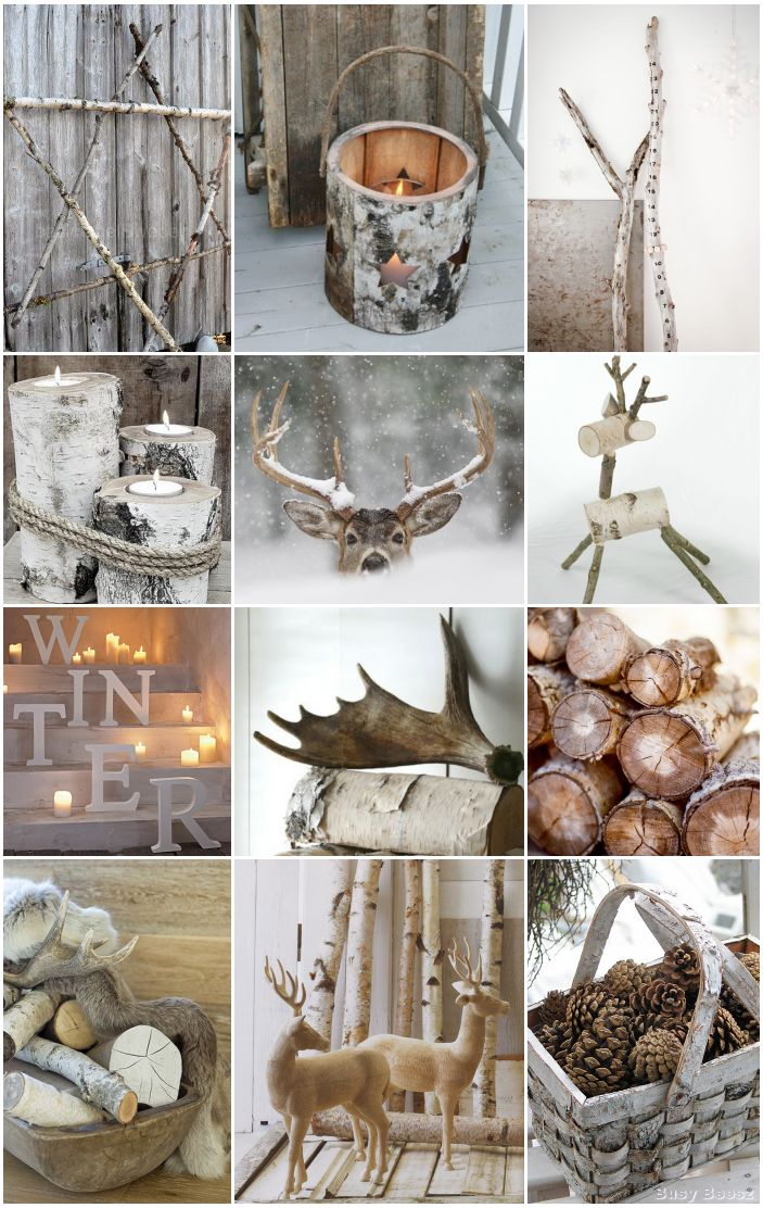 Winter - Xmas - birch - pinecones - antlers