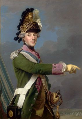 Louis, Dauphin of France (1729–1765), in the uniform of Colonel General of the Dragoons, in front of the military camp at Compiègne Date 1765