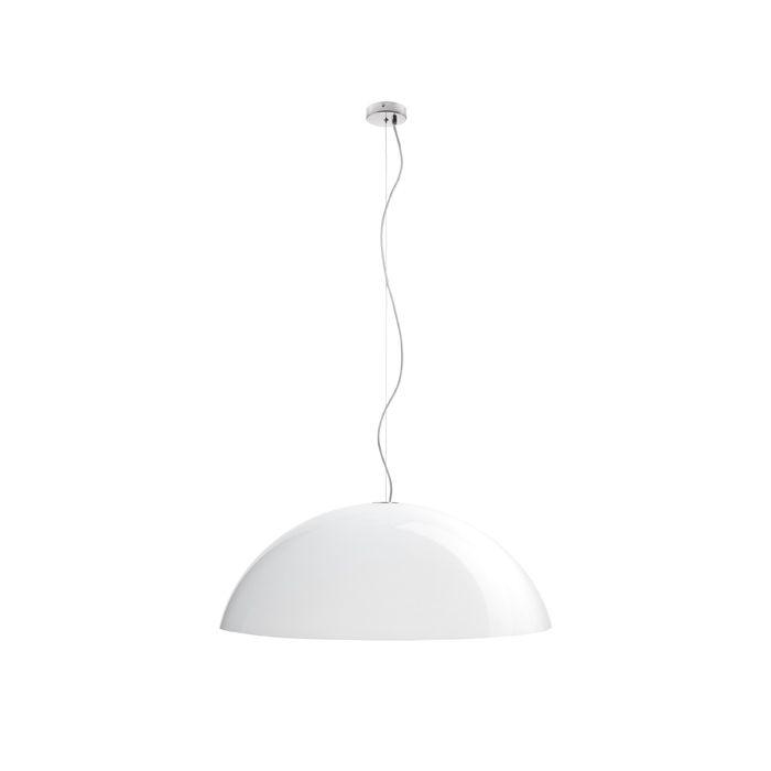GREG | rendl light studio | Stort nerpendlat halvklot av vit plast. #lampor #belysning #pendel #köksbelysning
