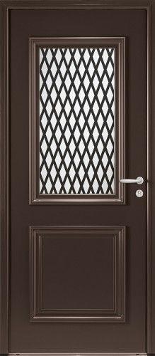 modle panthon porte dentre aluminium classique mi vitre grille noire 2100 sable intgre - Porte D Entree Double