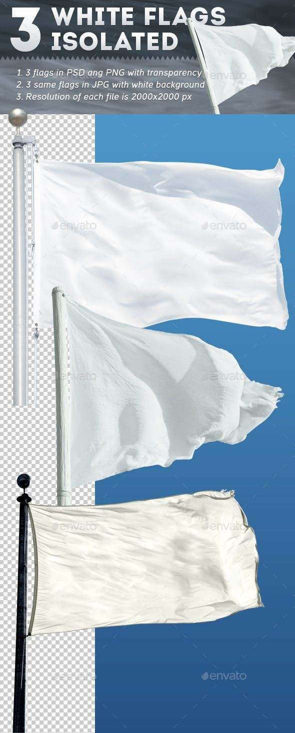 3 White Flags Isolated White Flag Flag Icon Background Banner