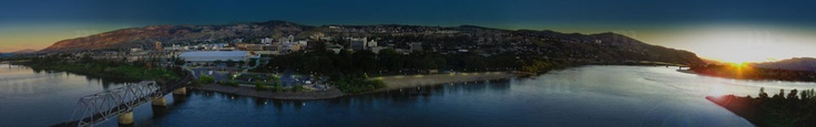 Aerial panorama photo of the Kamloops, BC skyline at dusk. www.mastermindvideo.ca