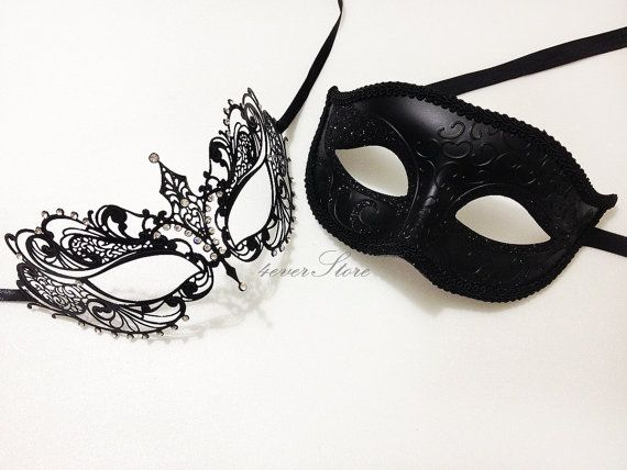 New Extravagant Masquerade Couples Mask Set - His & Hers Mask [Black Themed] - Bestselling Men's Half Mask w/ Lady's Laser Cut Mask on Etsy, $55.88 CAD