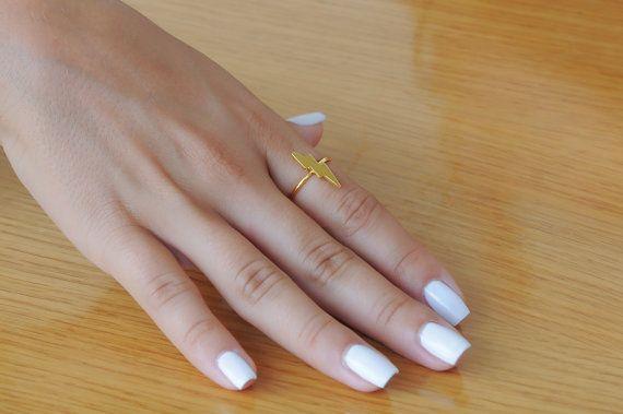 Lightning bolt ring Silver thunder ring 925 sterling silver Minimalist Length 17.5mm