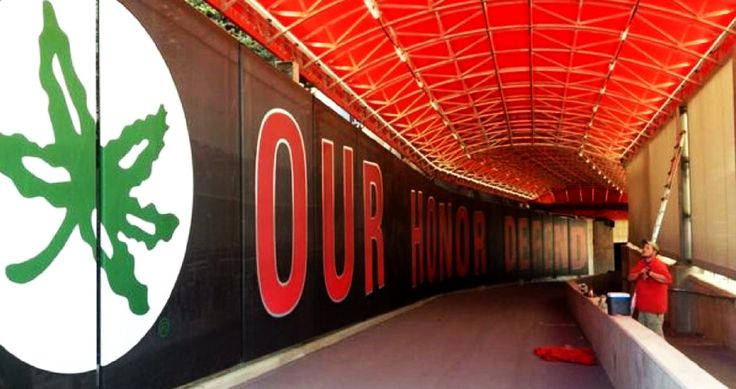 TUNNEL WHERE THE FOOTBALL TEAM WILL ENTER THE PLAYING FIELD OF OHIO STADIUM.