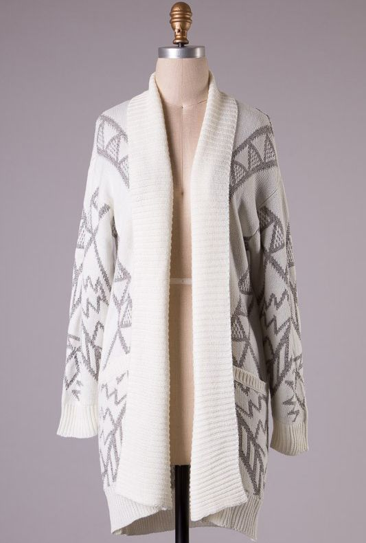 Sacred Motif Aztec Print Long Cardigan in Cream/Grey | Sincerely Sweet Boutique