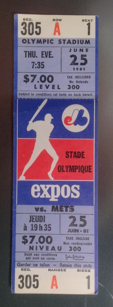 rare 1981 montreal expos full unused season ticket stub new york mets june 25 from $0.99