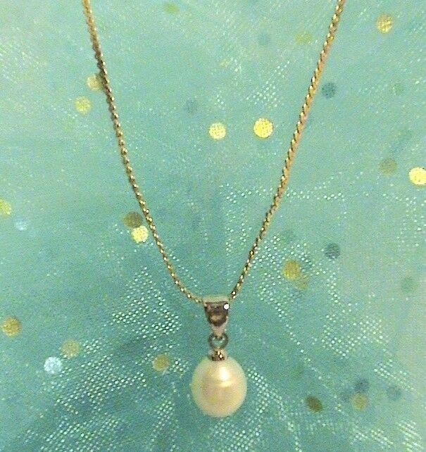 18kgp Serpentine Chain W Pearl Pendant Unbranded Pendant Pearl Pendant Earrings Quartz Pendant Necklace Gemstone Necklace Pendant