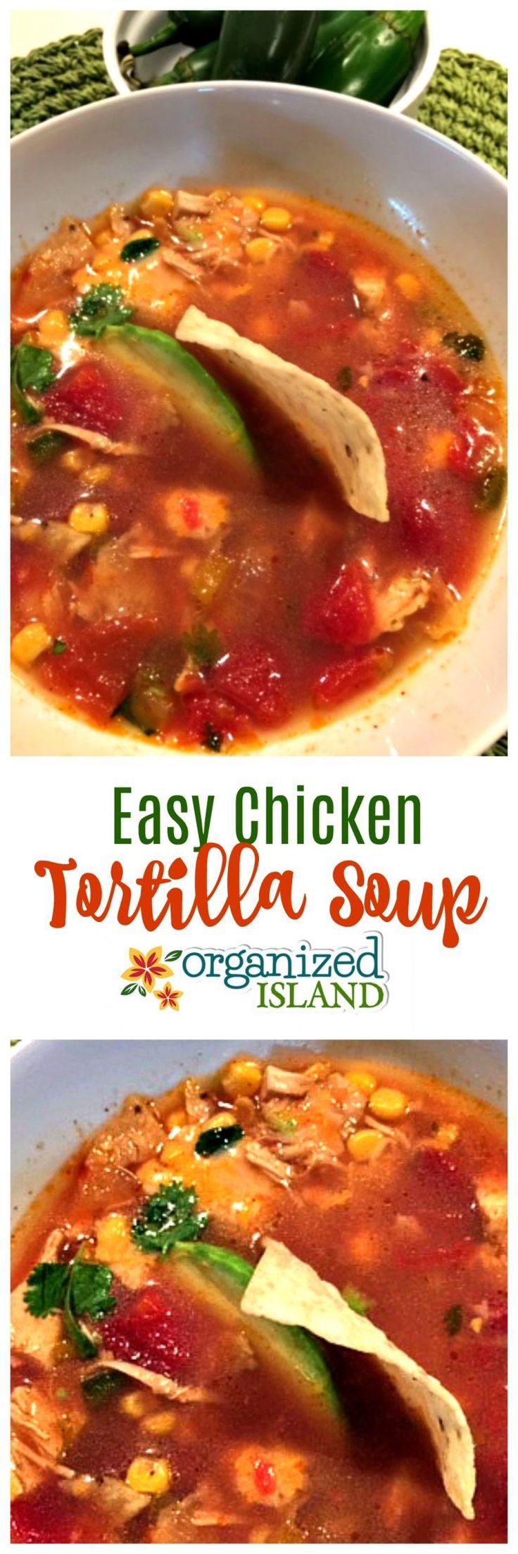 This Chicken Tortilla Soup recipe is so easy and tasty!     #chicken #tortilla #soup #soups #recipe #recipes #dinneridea #souprecipe