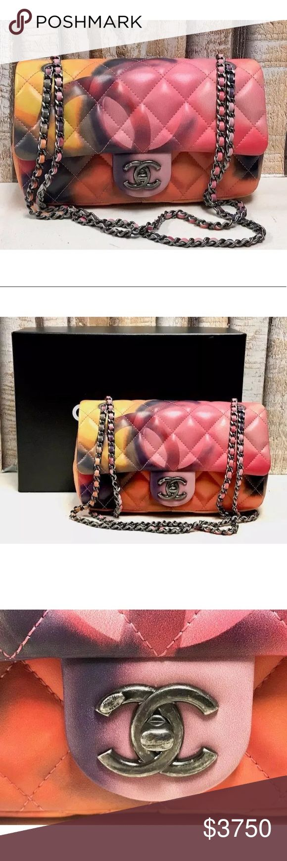 Authentic Chanel limited Edition flap bag Chanel limited edition gem that would complete any collection. Certificate of Authenticity included, Medium Flap Bag, Multicolor Lambskin  Strap Drop 12''- 21'', Measures 9''L, 2.5''W, 5''H with Authenticity Card, Info Booklet, Box, and Receipt This bag is in excellent condition! The exterior lambskin leather is in amazing shape There is a scratch on the bottom edge of the flap by the turnlock. Overall in excellent condition. PRE SALE on INSTAGRAM…
