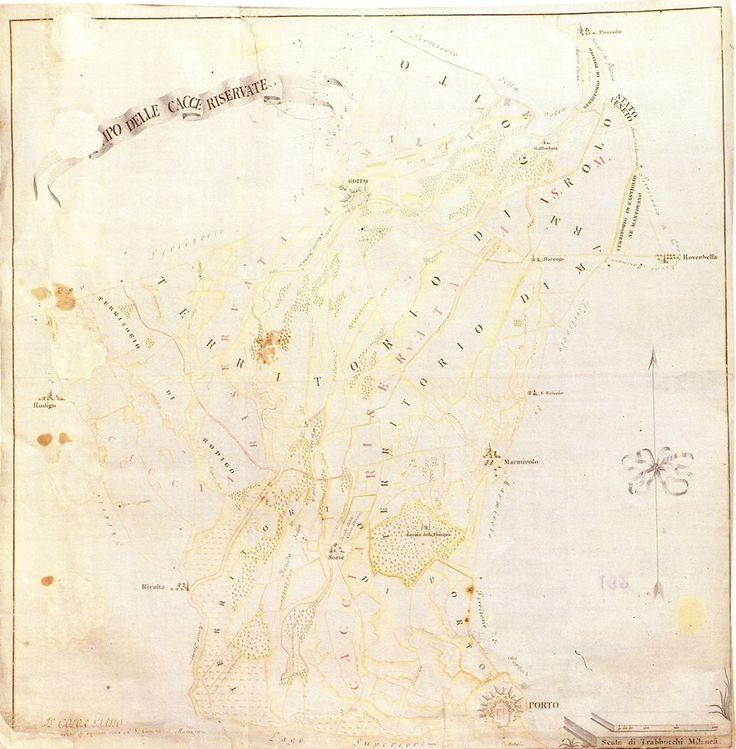 Carta delle cacce riservate Mantova Archivio di Stato - Mappa Acque carta 162 -