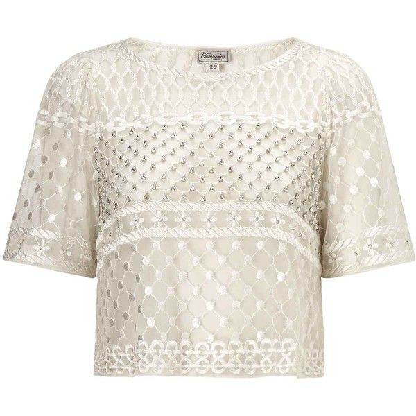 Temperley London Angeli Fishnet Crop Top (1594505 PYG) ❤ liked on Polyvore featuring tops, crop top, shirts, crop, ivory mix, white short sleeve top, boxy crop tops, loose white shirt, short sleeve crop top and white shirt