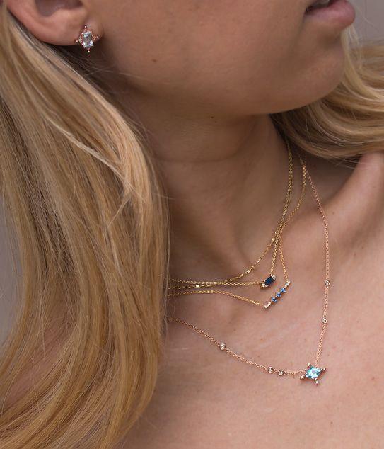 Icy Blue Topaz Diamond Necklace