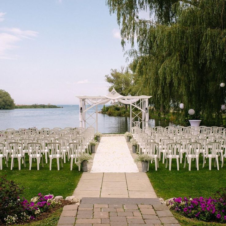Stunning Lakeside Outdoor Ceremony Decor - Cranberry Resort - Collingwood, Ontario  Waltzly (@waltzlyevents) on Instagram