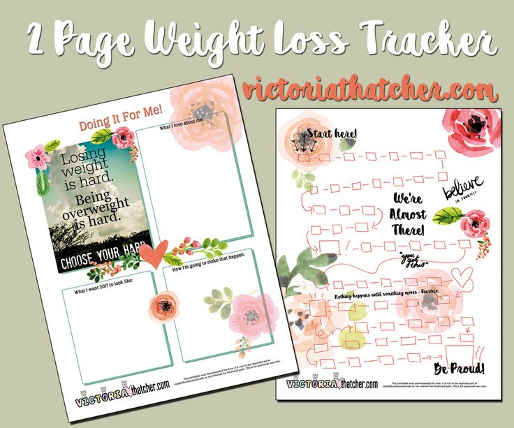 Influential image with weight loss printable planner