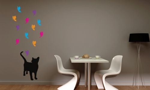 Cat with different coloured butterflies (sent individually for easy placement)Add your colours to the personalise box.  All our wall stickers/decals are available in a great range of sizes and colours - and can be personalised to be truly custom.