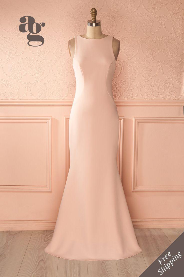 Longue robe rose à coupe sirène et traîne - Pink mermaid gown with a train