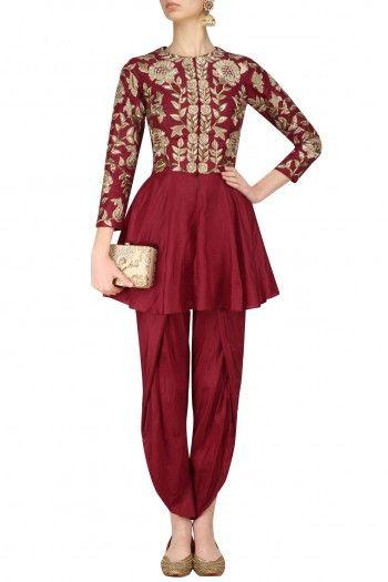 Chhavvi Aggarwal Red Zardozi Embroidered Peplum Jacket and Tulip Pants Set #happyshopping #shopnow #ppus