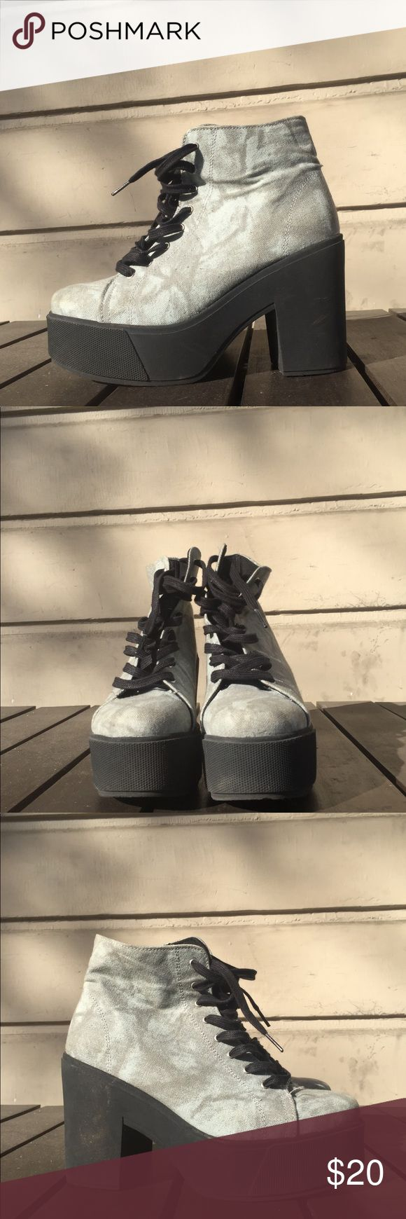 Gray Outsider platform boots! Grey textured platform boots by Outsider. I LOOOVE THESE! They're super comfy and give me spice girl vibes. Worn only once! Size 9 made in Spain! outsiders by 67 Shoes Heeled Boots