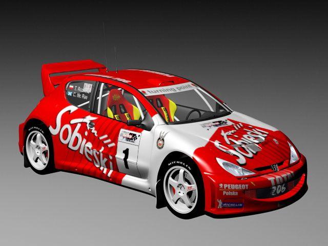 Peugeot 206 World Rally Car 3d Model 3ds Max Files Free Download Modeling 43358 On Cadnav Car 3d Model Rally Car Peugeot