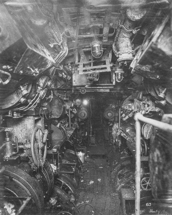 Inside a German submarine, World War I.