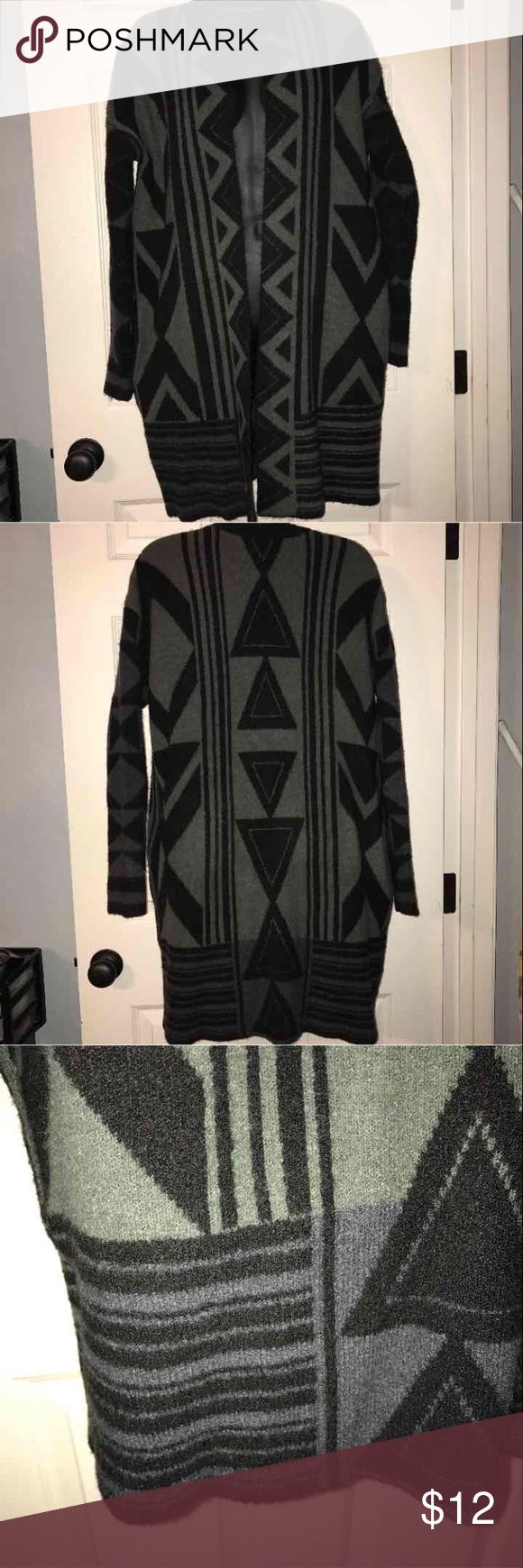 F21 longline tribal print cardigan Sz S Forever 21 longline, open front cardigan, tribal print, size small.  Colors are black, olive, and a blue color (on sleeves, and panel at end of cardigan.) also has pockets! Forever 21 Sweaters Cardigans