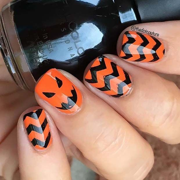 Black And Orange Pumpkin Nails For Halloween Nail Designs Nails