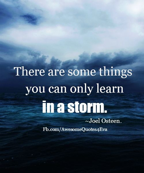 True ...so True ...There Are Some Things You Can Only Learn In A Storm #Joel_Osteen #Storm #Quotes #Words #Inspiration