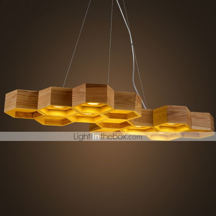 Designer Art Individuality Chandelier Restaurant Bar Simple Honeycomb Wood Lamps 4244631 2016 – £170.62