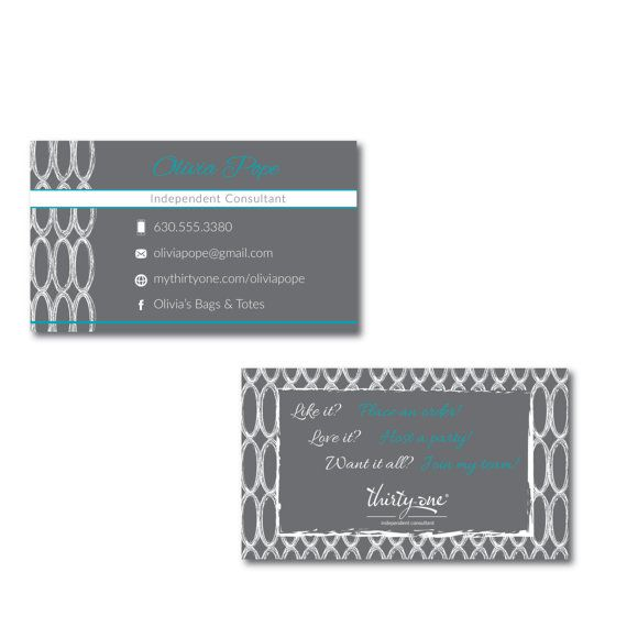 Thirty-One Consultant Business Card Charcoal Links Inspired Design