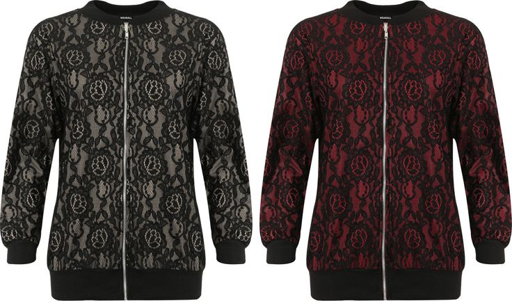 Womens Plus Zip Bomber Jacket Ladies Floral Lace Lined Long Sleeve Crew Neck New | eBay