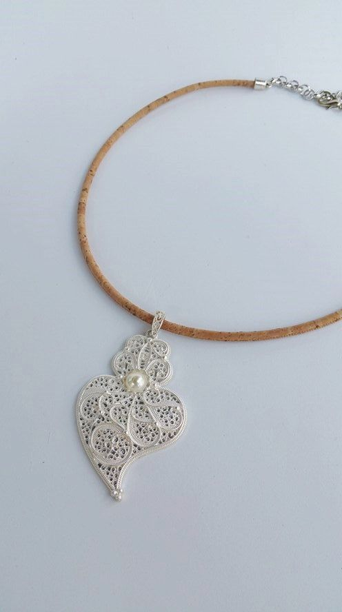portuguese natural cork jewelry  big heart necklace by TresJoliePT