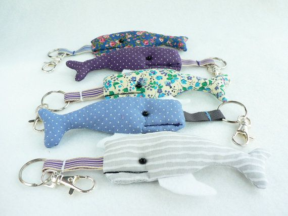Key chain whale fabric  and machine embroidery by WhenArtMetCloth, £8.50.♥ Such sweet unique little keychains! I think I want the whole school of whales. ;)