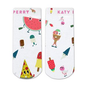 Katy Perry Characters Sublimated Socks. Small fits Men's shoe size 4 and/or Ladies size 5.     Medium fits Men's shoe size 3-9 and/or Ladies size 4-10.
