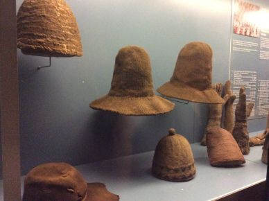 knitting National Museum in Copenhagen, Renaissance exhibition; a collection of tall knitted hats that were in fashion in Scandinavia in the early 17th-century
