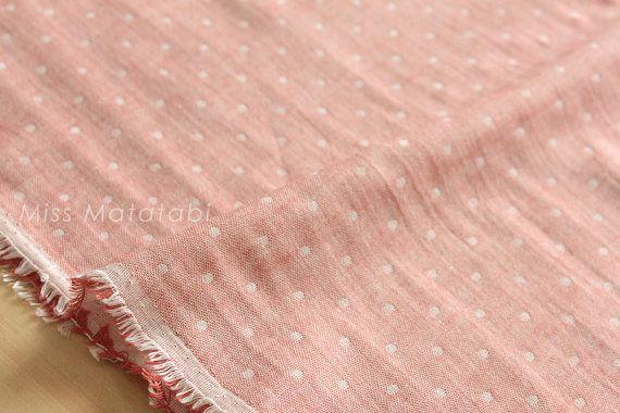 Kokochi double gauze dots by Kiyohara  100% cotton. Lightweight double gauze  1/2 metre (50cm x 110cm, 19 x 43 wide)  If you would like continuous