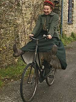 """Ruth Goodman on her bike (from """"Edwardian Farm""""). Want to watch this"""