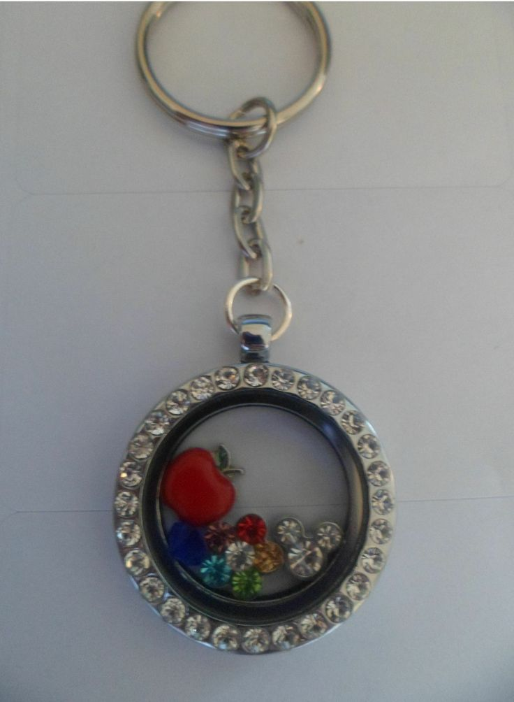 Floating Locket Keyring - Round, 3 charms & 1 crystal   #FloatingLocket #HandmadeUK #Floating #Locket #TheTrinketBox