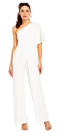 Modern elegance has arrived in this stunning new silhouette. This jumpsuit features a structured design, one shoulder silhouette with flutter sleeve, and long wide leg pants. Paired with sparkling peep toe heels, this beautiful jumpsuit is a beautiful design.