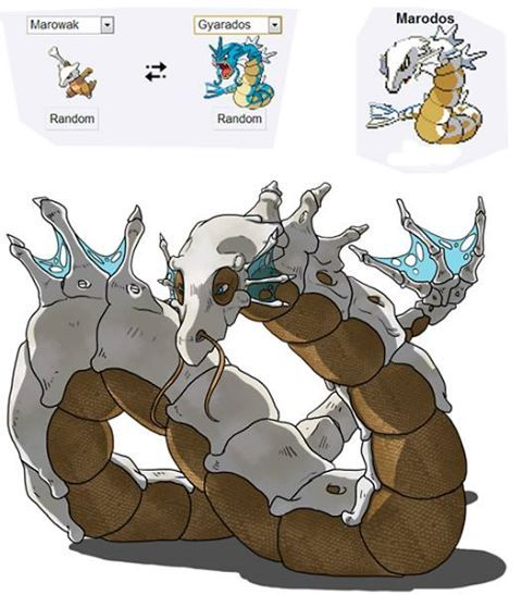 Marowak and Gyarados fused together. Pokemon Fusion art is so awesome!