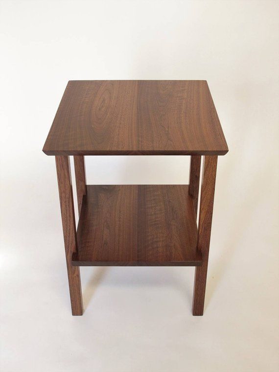 End Table With Shelf Small Solid Wood Table For Living Room Or
