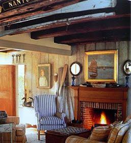 seafaring Nantucket style living room