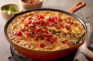 Chorizo, Potato & Green Chile Omelet recipe - made this last night for dinner served it in flour tortillas with sliced avocado and sour cream.  Delicious