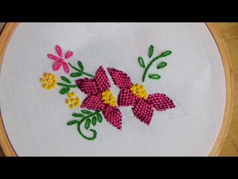 Hand Embroidery: Checkered Flower Stitch - YouTube