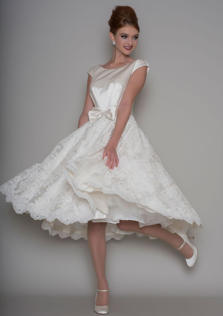 Lou Lou- Clara. Tea length bridal gown in satin and lace. Available at The Tailor's Cat, Cambridge 01223 366700