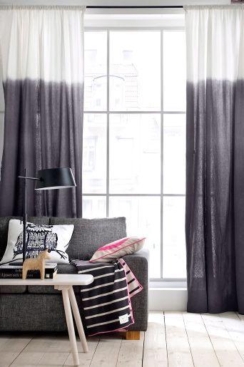 Dip Dye curtains in black/grey/white | ShowHome Blog