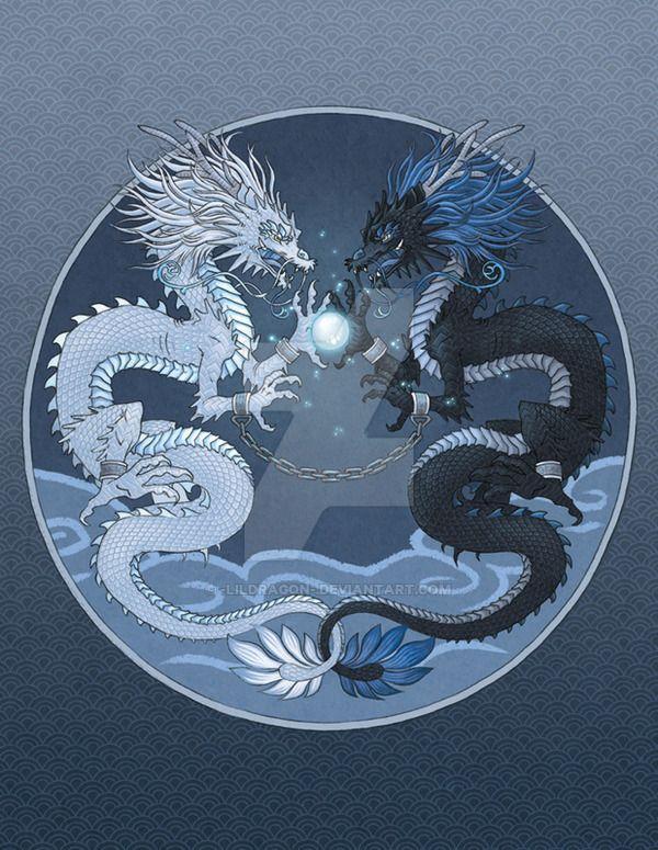 Картинки инь янь с драконом