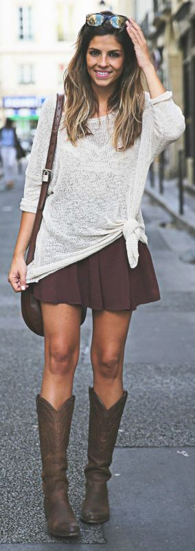Natalia Cabezas rocks the knee high suede boots with a brown skater skirt and white tie front jumper! Sweater: Zara, Skirt: Brandy Melville, Boots: Sendra, Bag: Loewe Madrid, Sunnies: Hype... | Style Inspiration