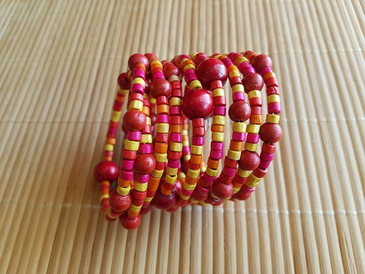 Handmade red wooden bracelet by LynnesEbooks on Etsy
