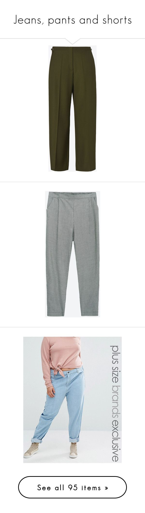 """""""Jeans, pants and shorts"""" by fridastockholm ❤ liked on Polyvore featuring pants, bottoms, calças, trousers, military green, pleated wide leg trousers, olive green pants, wide-leg trousers, wide-leg pants and military green pants"""